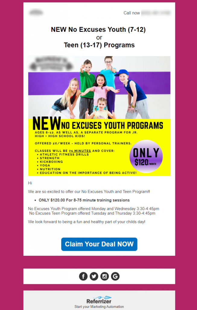Announcement email for gym