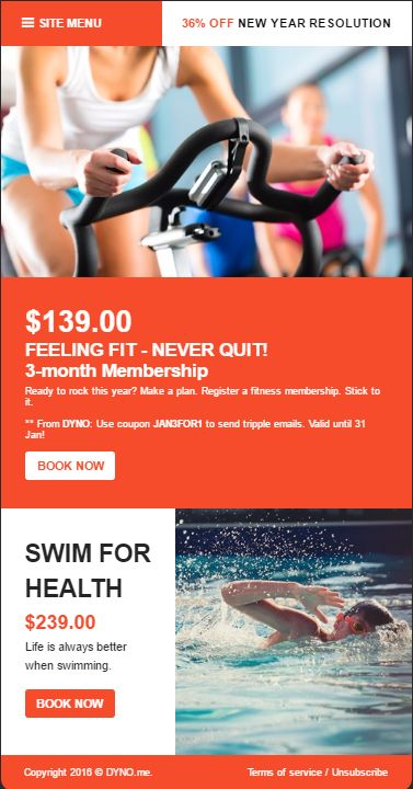 Fitness special deals email