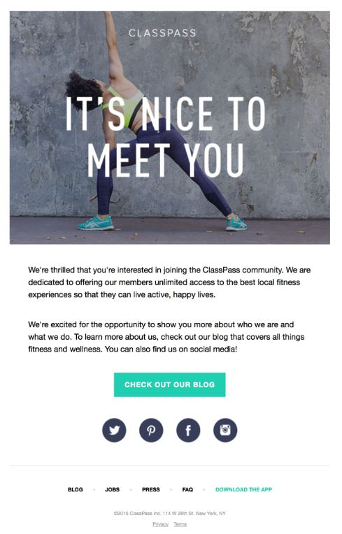 fitness welcome email